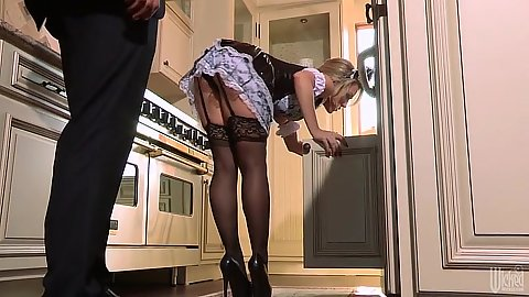 Stockings maid Capri Cavanni is teasing the man