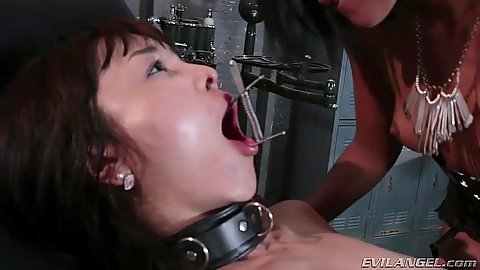 Mouth spreader with asian Marica Hase and Skin Diamond engaged in dirty ass play and anal