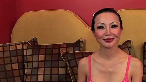 Asian milf Ange Venus is sucking it hard down