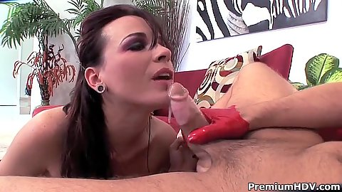 Blowjob from fishnet lingerie Dana DeArmond and Tory Lane