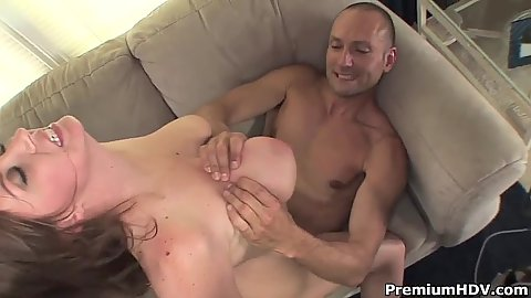 Excited big tits Sara Stone on dick jumping