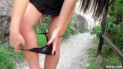 Suzy Fox taking off her panties in public to show vagina and do standing fuck pov