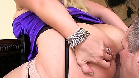 Femdom bitch Alura Jenson makes man eat her anus on a stool