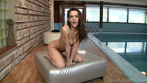 Brunette skinny solo chick covered in some liquids in behind the scenes