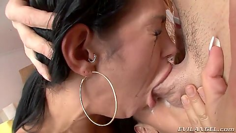 Deep throat girl is choking but manages to keep it in Lyla Storm and Angelina Valentine
