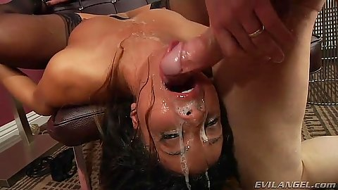 Reverse blowjob with gagging rough sex messy bitches Teanna Trump and Francesca Le