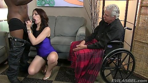 Mean cuckold as man watches his girl suck off black dick Sarah Shevon