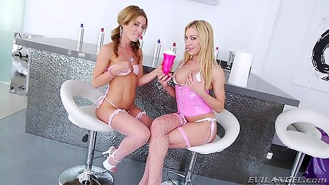 Nice cream ass fun with whip cream injected in anus with Sheena Shaw and Amy Brooke