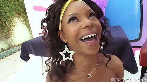 Blowjob with some sloppiness from ebony Marie Luv