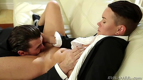 Hairy pussy licking Jiz Lee and then a fellatio option