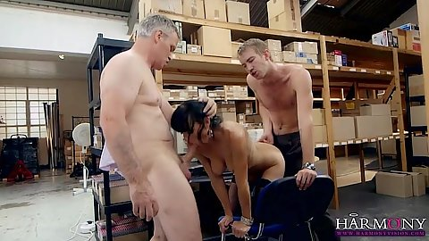 Threesome storage room sex with Franki eager to satisy