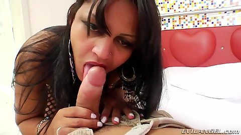 Keity Bitencourty latina blowjob in pov wearing fishnets