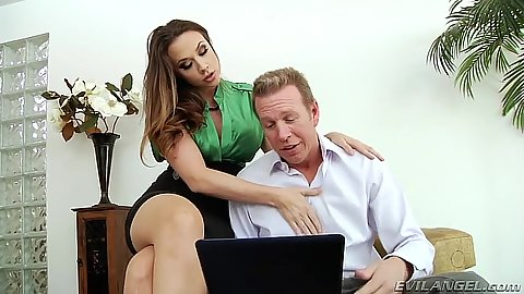 Fully clothed Chanel Preston teases dude in miniskirt