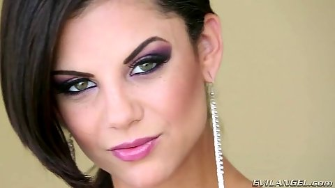 Lovely brunette with ink babe Bonnie Rotten cum drinking in pov shots