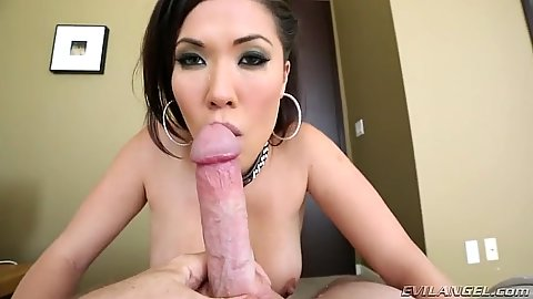 Sucking penis and balls with asian London Keyes in pov scene