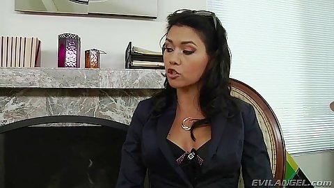 Brunette fully clothed milf Dana Vespoli does blowjob