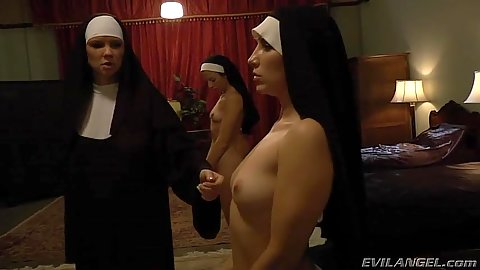 Nun segregation orgy with Ashley Fires and Jessie Volt and Chastity Lynn