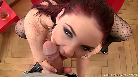 Redhead pov blowjob with horny Emma Leigh