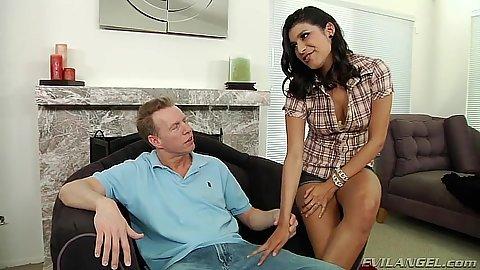 Miya Stone latina gets naked then sucks on her knees
