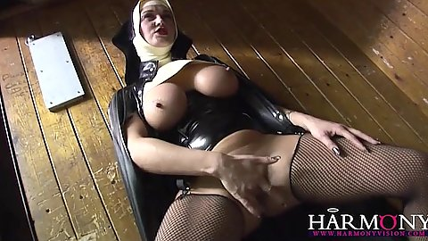Fingering herself and interracial costume deep throating sex from Keira Farrell