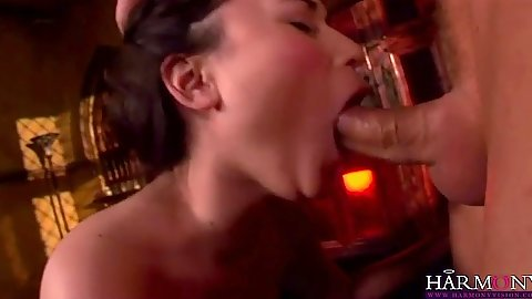 Deep throat with craved brunette Sakura with open mouth cumshot