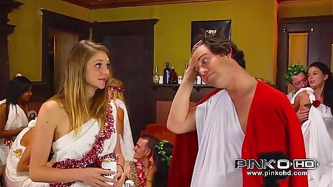 Teen party with costume teens Jessie Andrews