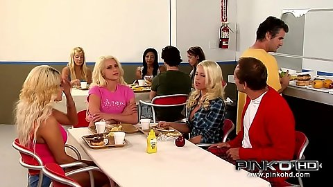 Kaylee Hilton office group lunch them then some blowjob hidden away