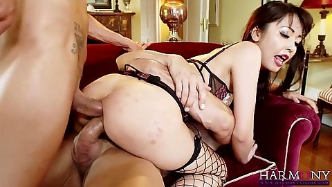 Double penetration with stunning asian in lingerie drilling Marika Hase