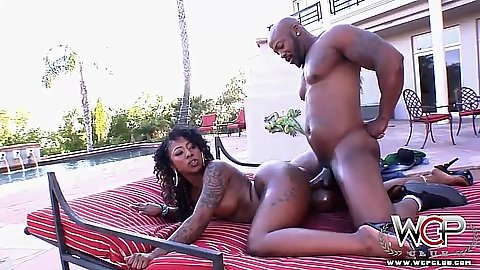 Breathtaking ebony doggy fuck outdoors with nice busty Gogo Fukme