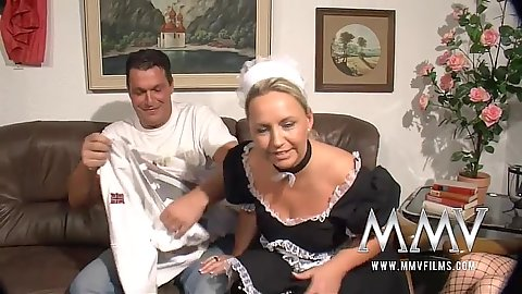 Blonde maid Gina and Barbara T do blowjob
