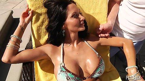 Intimate milf with big tits in oil wearing a hot bikini Ava Addams