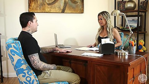 Office time with blonde Alana Love needs to suck to get her new job