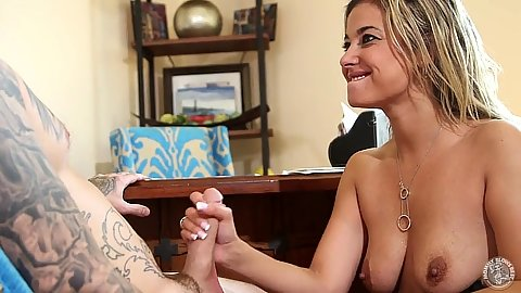 Doing a blowjob with whore Alana Love for a job in exchange