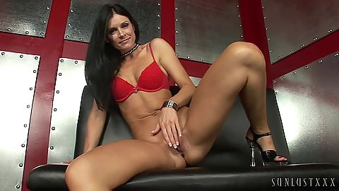 India Summer wearing only her bra and high heels preparing her vagina