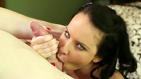Sucking some balls and blowjob with brunette slut Katie St. Ives