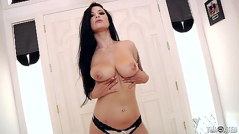 Stripping naked Katrina Jade then takes a large black cock in her mouth