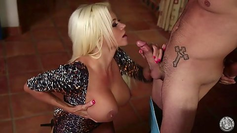 Blowjob with large boobs milf Nikita Von James