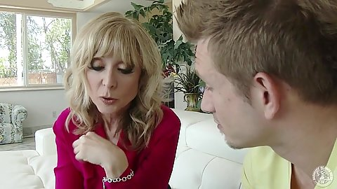 Milf blonde Nina Hartley undressing with stepson
