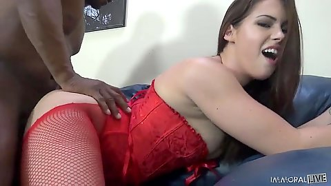 Edyn Blair lingerie sex from behind in interracial bang
