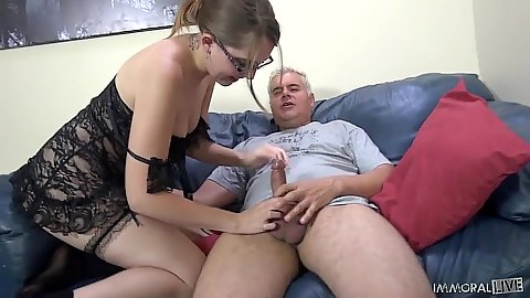 Perverted Nickey Hunstman in lingerie touching penis