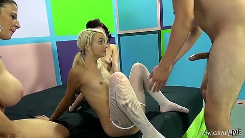 Stockings young teen looks at dick in hope Carmen Callaway and Onyx Muse and Sara Jay