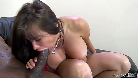 Big black cock blowjob from white bitch Sheila Marie