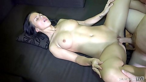 Natural boobs Denise Sky gets poney fuck