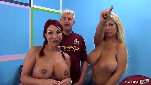 Friendly redhead and blonde Bridgette B and Ava Devine go for cock sucker champion
