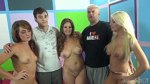 Girls go down for orgy Britney Amber and Allison Moore and Savannah Fox