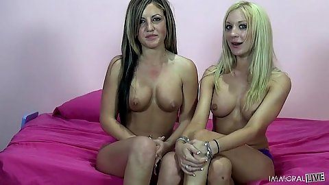 Nice firm tits lesbians Amy Brooke and Holly Taylor engage in cunnilingus