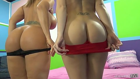 Ava Devine and Marley Blaze flashing their asses then participate in cock sharing suck
