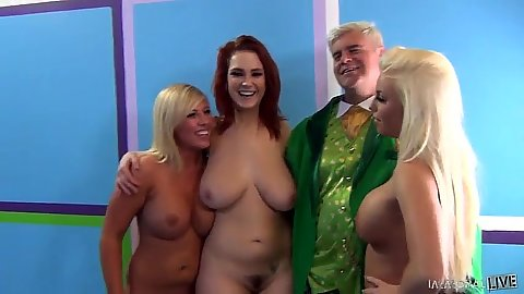 Blowjob with redhead and blonde friends Heidi Hollywood and Britney Amber and Siri