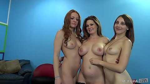 Naughty girls with hairless smooth pussies Farrah Flower and Allison Moore and Nickey Hunstman