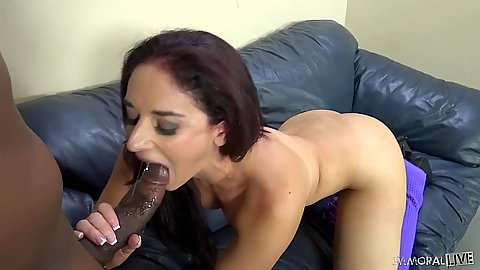 Nice looking brunette Sheena Ryder with natural boobs Sheena Ryder interracial blowjbo